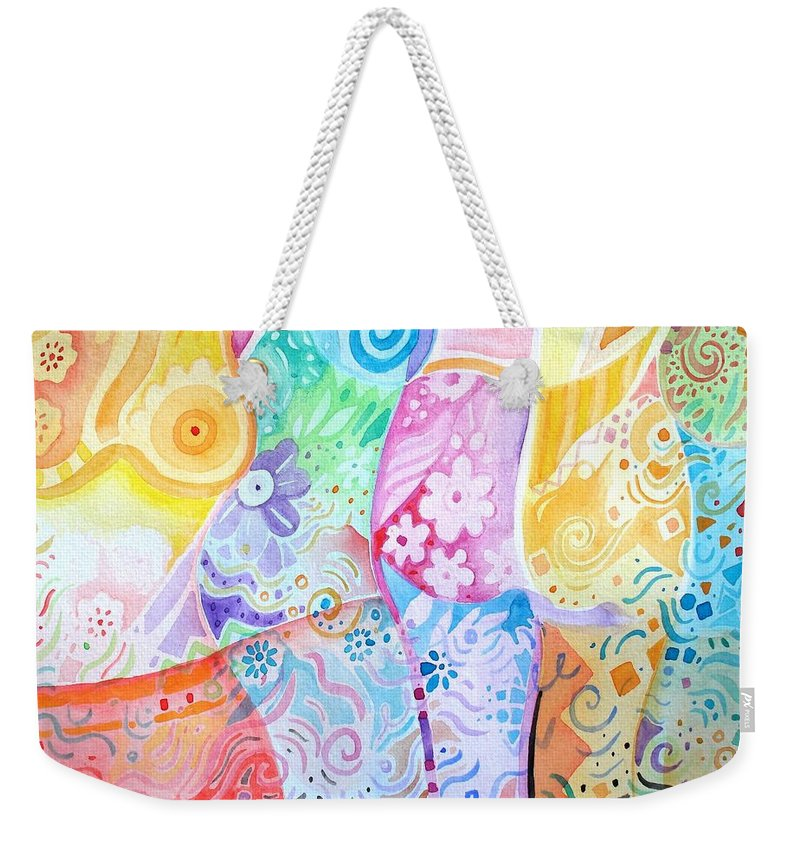 Woman Weekender Tote Bag featuring the painting Pattern And Form I by Helena Tiainen