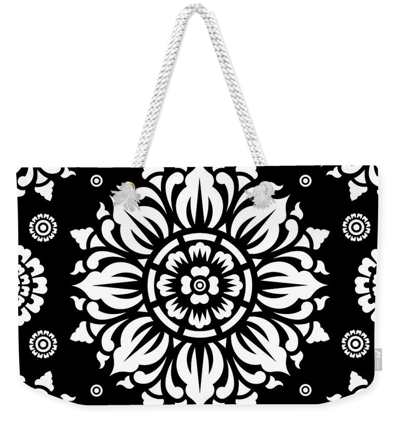 Black And White Flower Digital Art Weekender Tote Bags