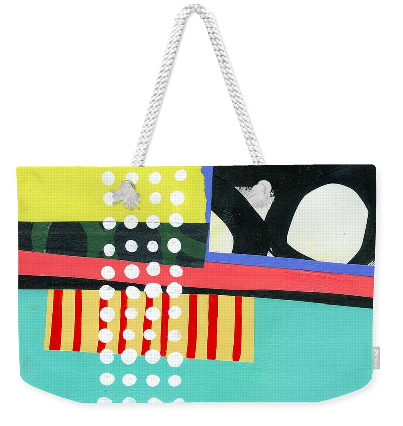 Acrylic And Collage On Wood Panel Weekender Tote Bag featuring the painting Pattern Grid #2 by Jane Davies