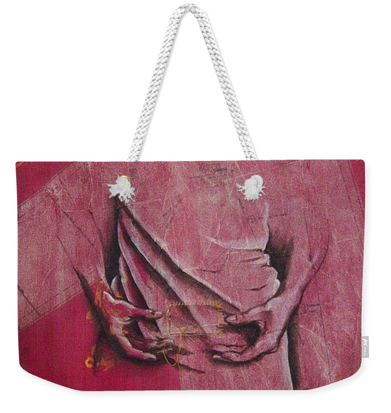 Hands Weekender Tote Bag featuring the painting Pattern Pieces by Rowena Finn