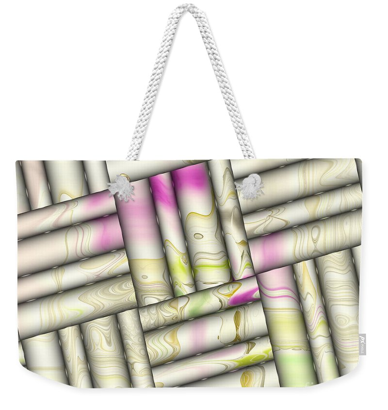 Digital Weekender Tote Bag featuring the digital art Pattern Tiles Abstract by Deborah Benoit