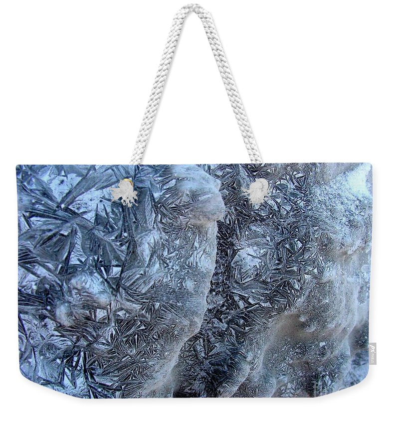Icescape Weekender Tote Bag featuring the photograph Patterned Ice by Ron Bissett