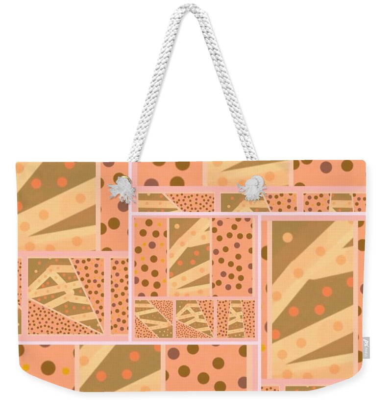 Tan Weekender Tote Bag featuring the digital art Patterns Of Finding Solace 200 by Joan Ellen Kimbrough Gandy of The Art Of Gandy