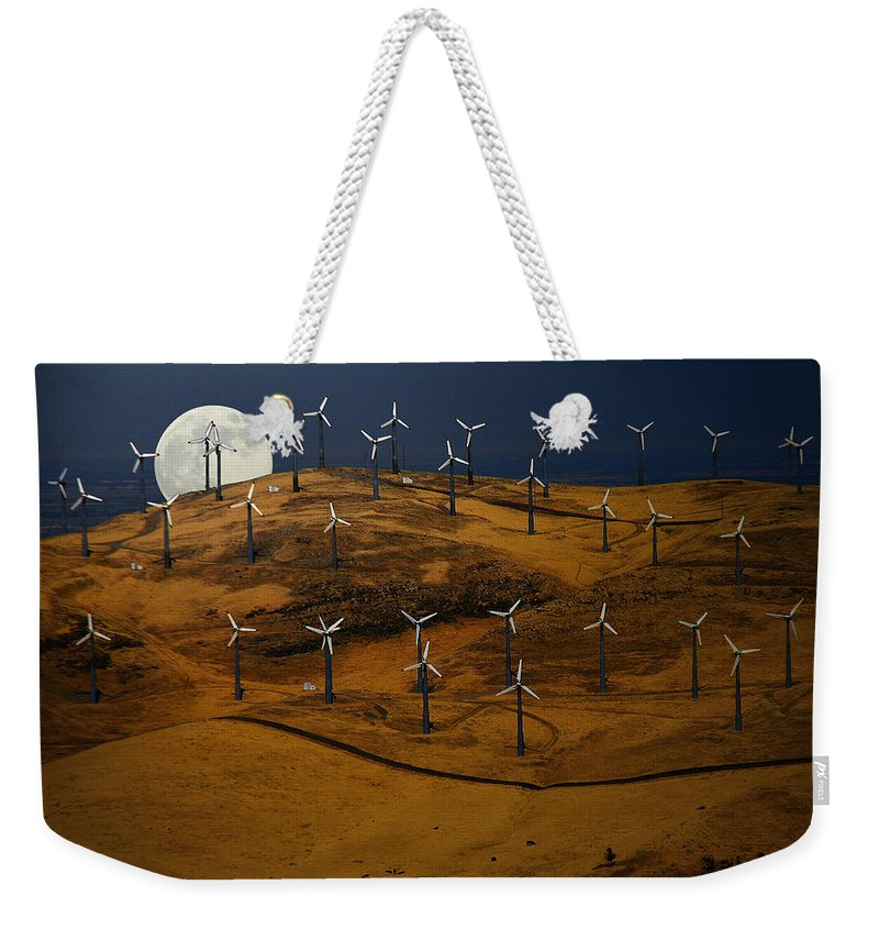 Landscape Weekender Tote Bag featuring the photograph Patterson Pass Wind Farm by Karen W Meyer