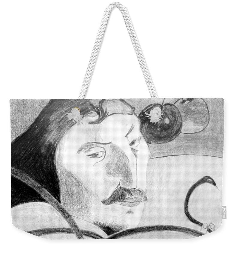 Pencil Weekender Tote Bag featuring the drawing Paul Gauguin by Jamie Frier