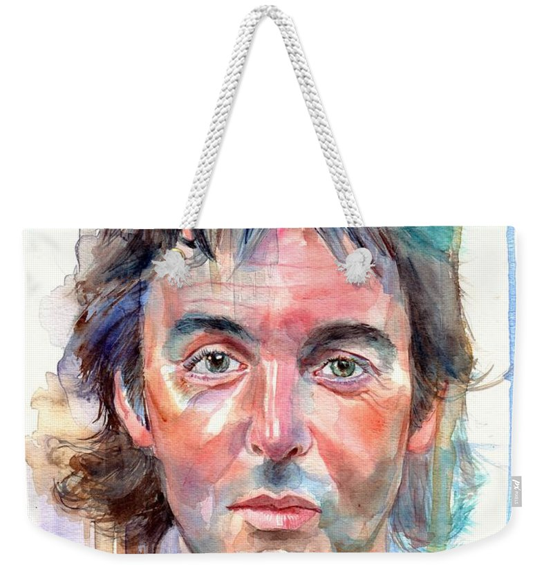 Paul Weekender Tote Bag featuring the painting Paul McCartney young portrait by Suzann Sines