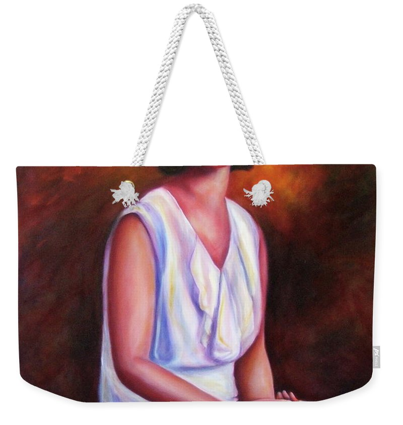 Woman Weekender Tote Bag featuring the painting Pauline by Shannon Grissom