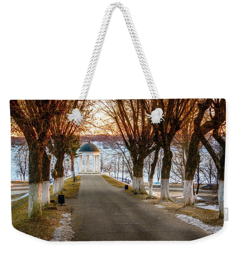 Kostroma Weekender Tote Bag featuring the photograph Pavilion On Volga River by Alexey Stiop