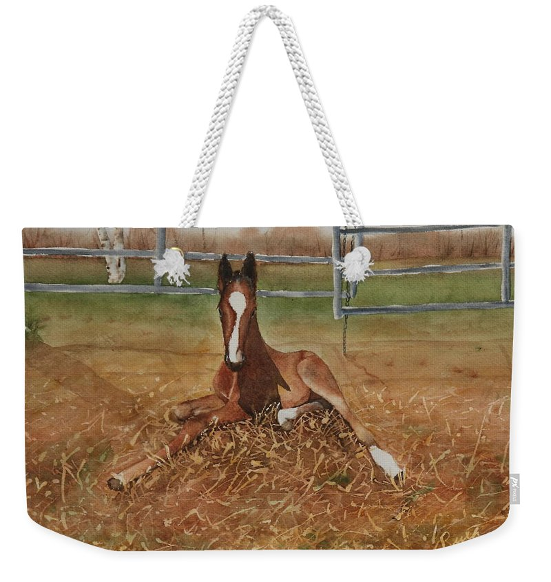 Colt Weekender Tote Bag featuring the painting Pavlo's First Day by Ruth Kamenev