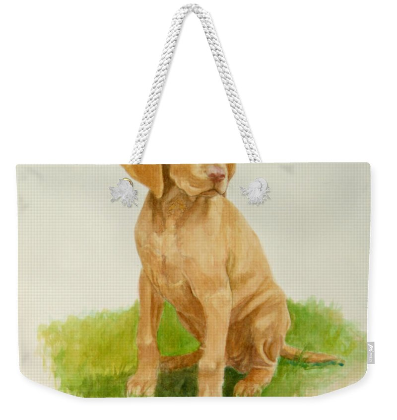 Dog Weekender Tote Bag featuring the painting Paws To Grow Into by Phyllis Tarlow