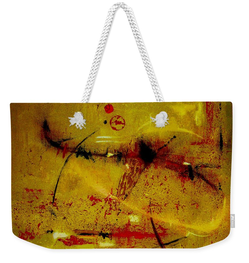 Abstract Weekender Tote Bag featuring the painting Pay More Careful Attention by Ruth Palmer