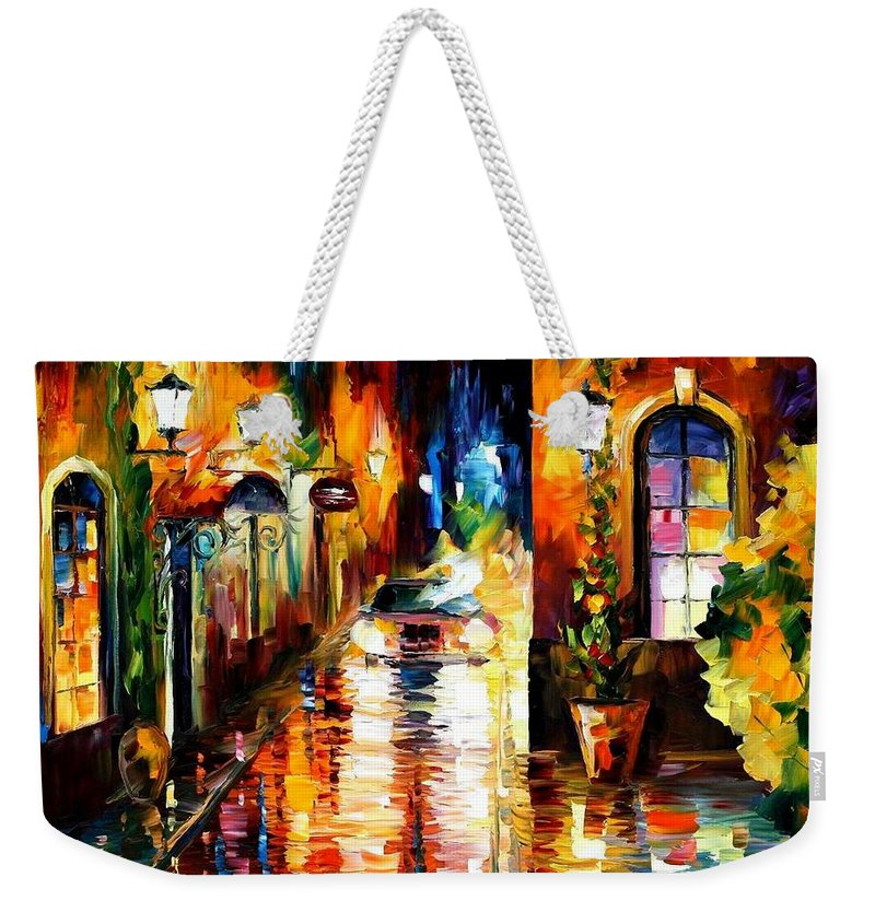 Afremov Weekender Tote Bag featuring the painting Paying A Visit by Leonid Afremov