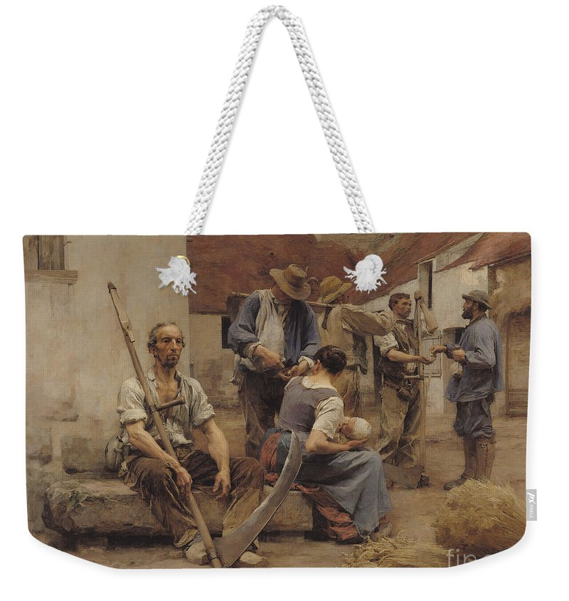 Paying Weekender Tote Bag featuring the painting Paying The Harvesters by Leon Augustin Lhermitte