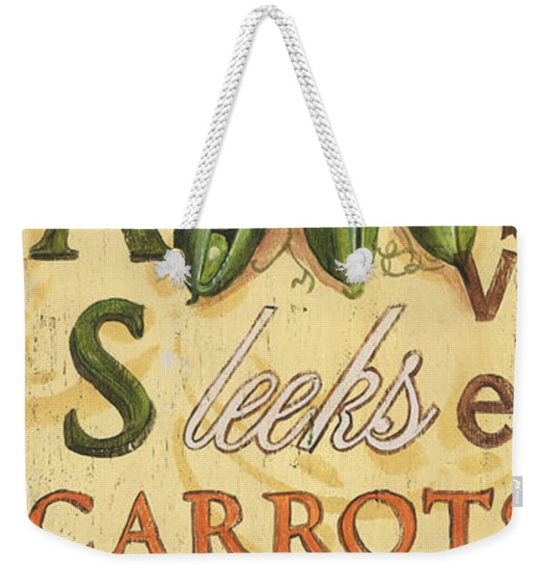 Kitchen Weekender Tote Bag featuring the painting Pea Soup by Debbie DeWitt