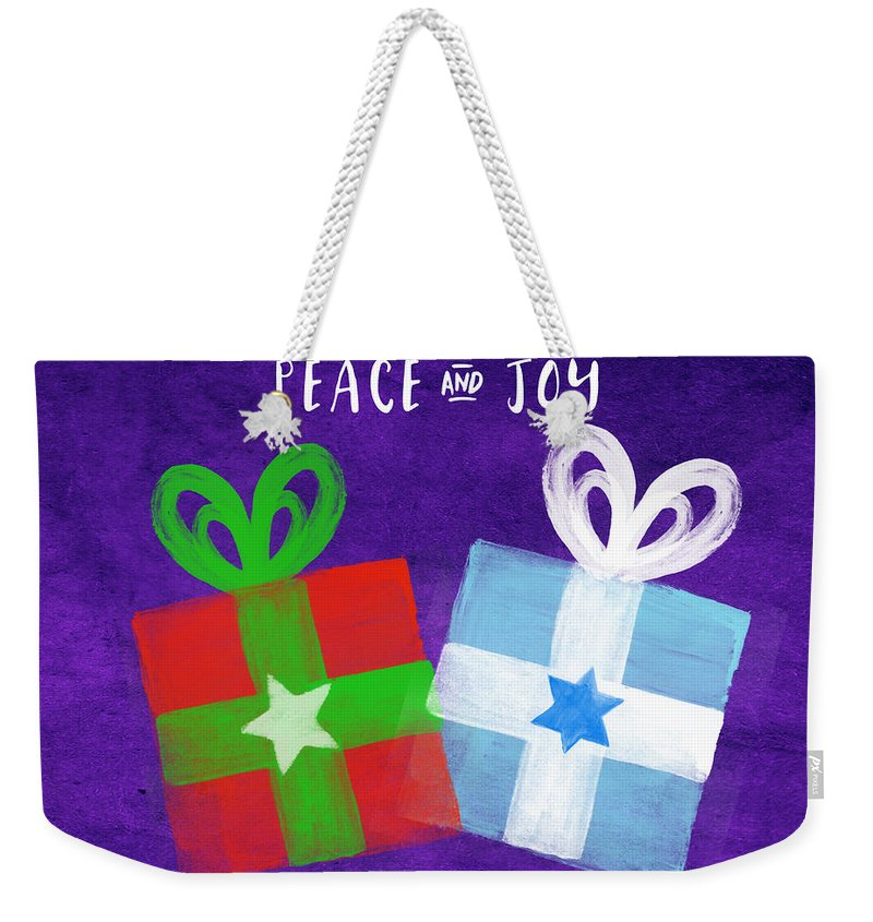 Peace Weekender Tote Bag featuring the painting Peace and Joy- Hanukkah and Christmas Card by Linda Woods by Linda Woods