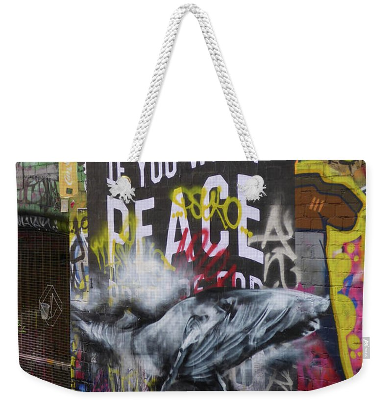 Graffiti Weekender Tote Bag featuring the photograph Peace by Bruce