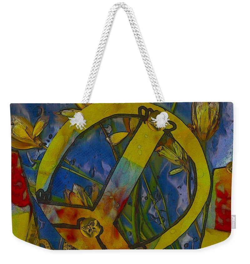 Collage Weekender Tote Bag featuring the mixed media Peace In The Nature by Pepita Selles