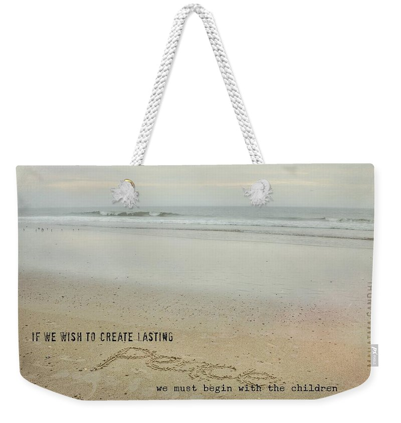Peace Weekender Tote Bag featuring the photograph Peace In The Surf Quote by JAMART Photography