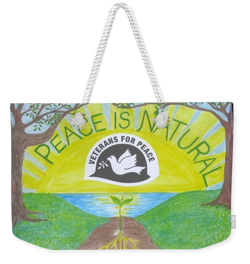 Peace Weekender Tote Bag featuring the drawing Peace Is Natural by Tree Whisper Art - DLynneS