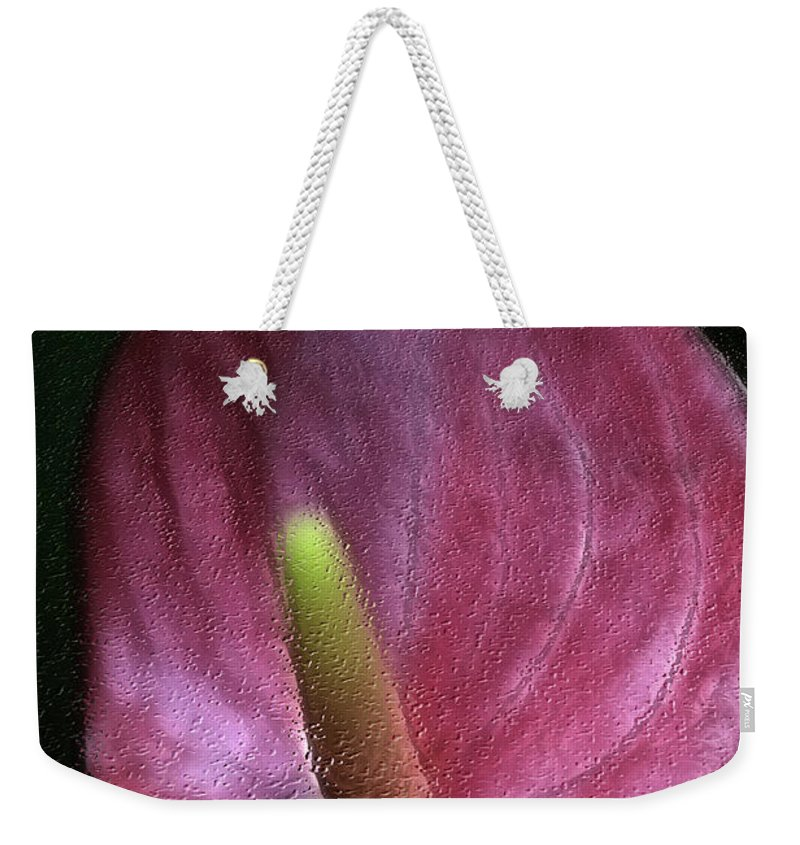 Weekender Tote Bag featuring the photograph Peace-lilly-pink by Deborah Benoit