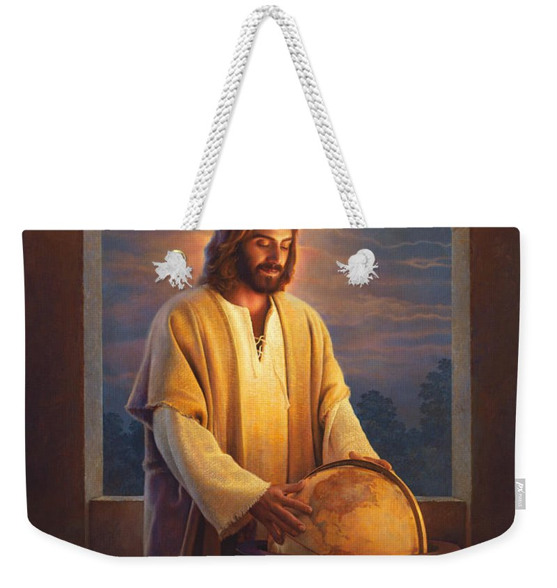 Jesus Weekender Tote Bag featuring the painting Peace on Earth by Greg Olsen