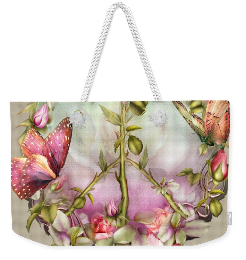 Rose Weekender Tote Bag featuring the mixed media Peace Rose by Carol Cavalaris