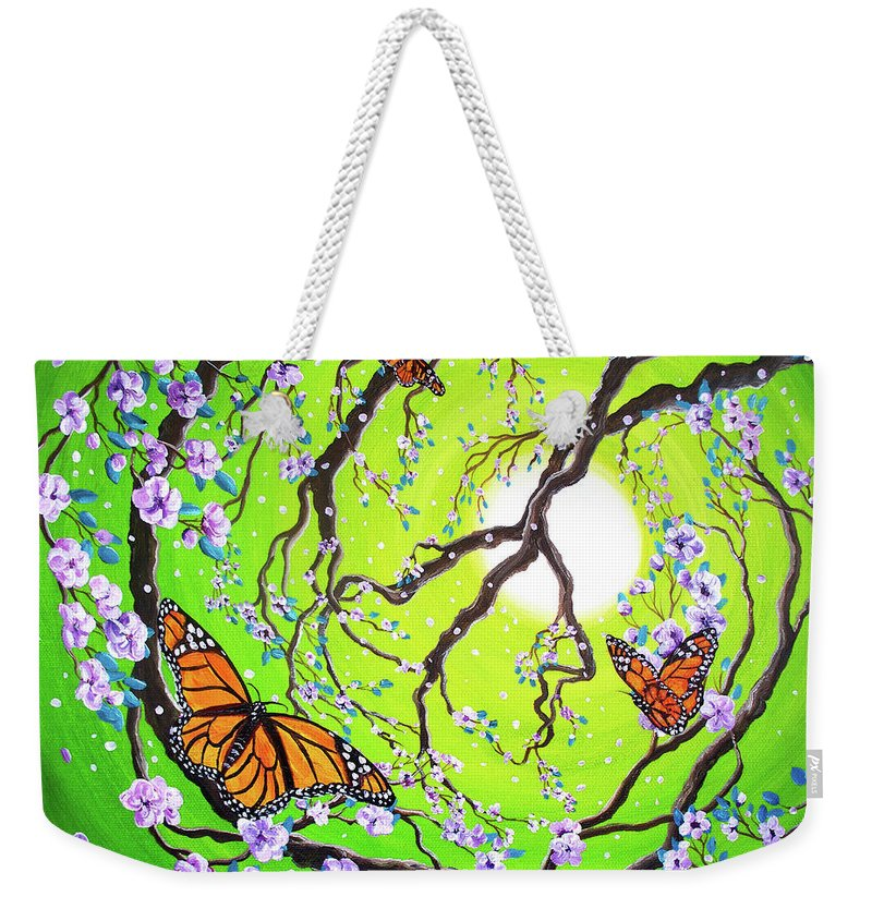 Zen Weekender Tote Bag featuring the painting Peace Tree With Monarch Butterflies by Laura Iverson
