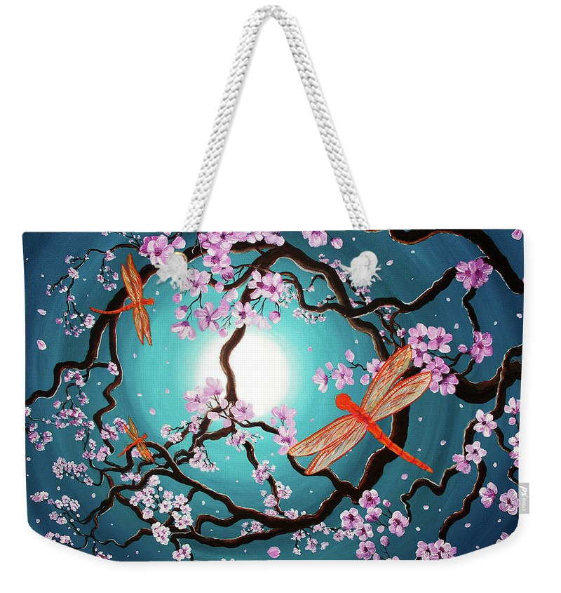 Zenbreeze Weekender Tote Bag featuring the painting Peace Tree With Orange Dragonflies by Laura Iverson