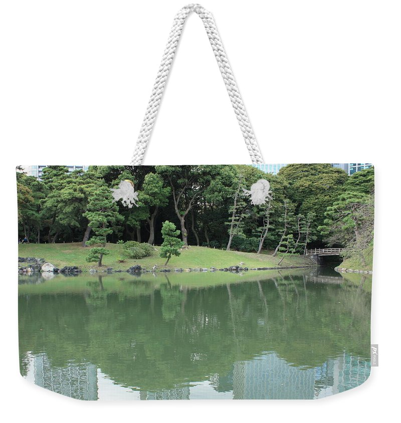 Peaceful Weekender Tote Bag featuring the photograph Peaceful Bridge In Tokyo Park by Carol Groenen