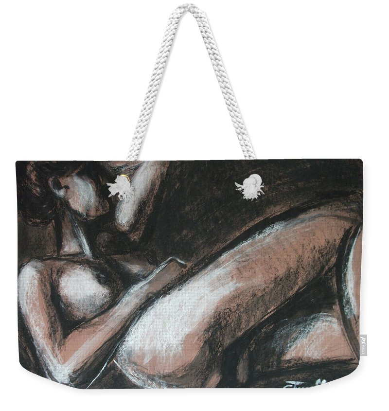 Original Weekender Tote Bag featuring the drawing Peaceful by Carmen Tyrrell