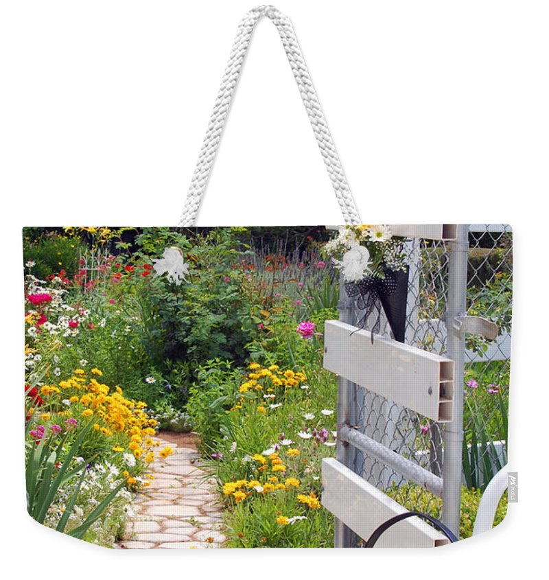 Garden Weekender Tote Bag featuring the photograph Peaceful Garden by Amy Fose