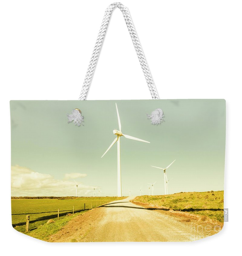 Farm Weekender Tote Bag featuring the photograph Peaceful Pastel Wind Farm by Jorgo Photography - Wall Art Gallery