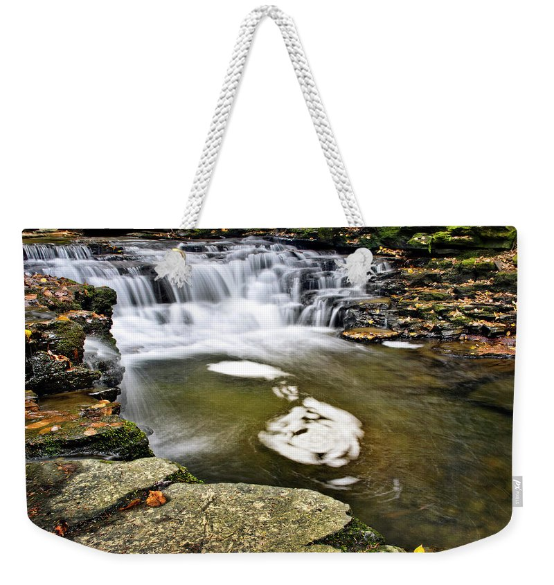 Peaceful Weekender Tote Bag featuring the photograph Peaceful Pool Waterfall by Christina Rollo