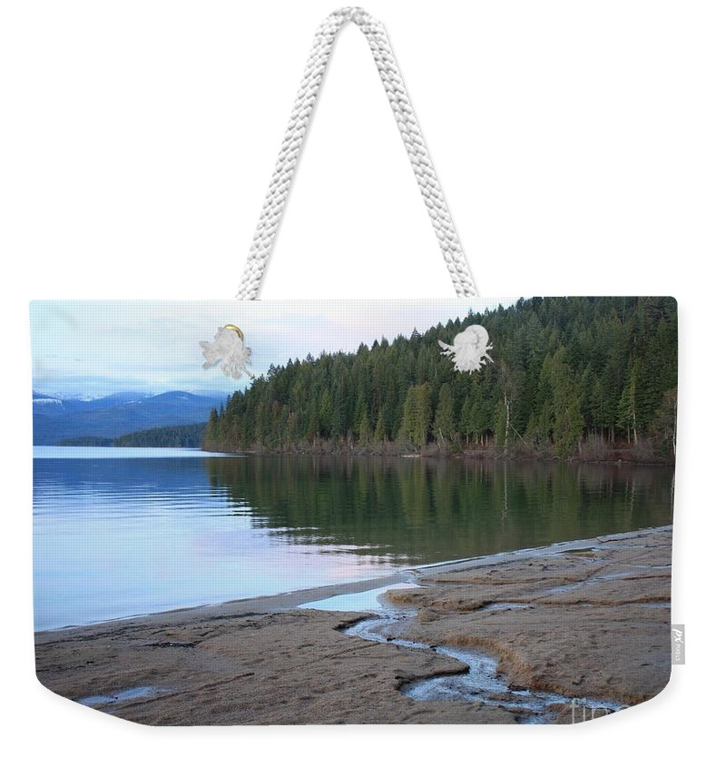 Idaho Weekender Tote Bag featuring the photograph Peaceful Spring Lake by Carol Groenen
