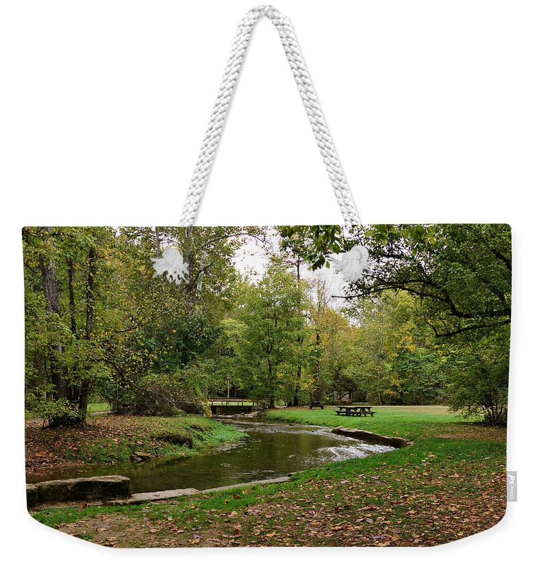 Stream Weekender Tote Bag featuring the photograph Peaceful Stream by Sandy Keeton
