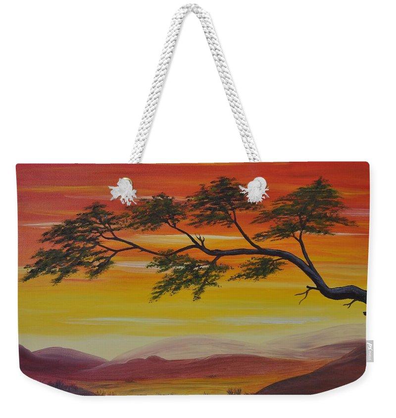 Sunset Weekender Tote Bag featuring the painting Peacefulness by Georgeta Blanaru