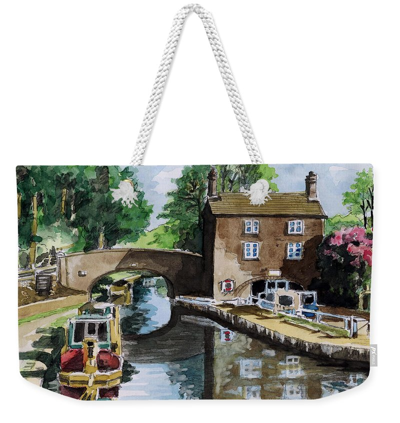 House Weekender Tote Bag featuring the painting Peacfull House On The Lake by Alban Dizdari