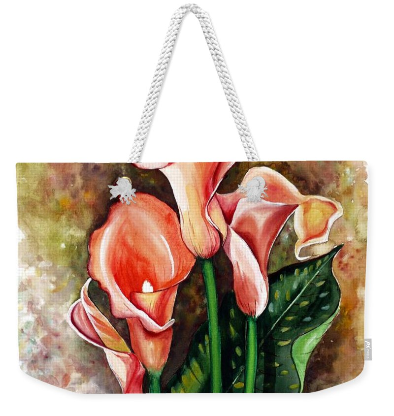 Calla Lily Painting Flower Painting Lilies Painting Peach Painting Pink Painting Floral Painting Bloom Painting Greeting Card Painting Weekender Tote Bag featuring the painting Peach Callas by Karin Dawn Kelshall- Best