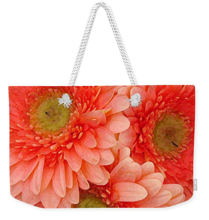 Floral Weekender Tote Bag featuring the painting Peach Gerbers by Amy Vangsgard