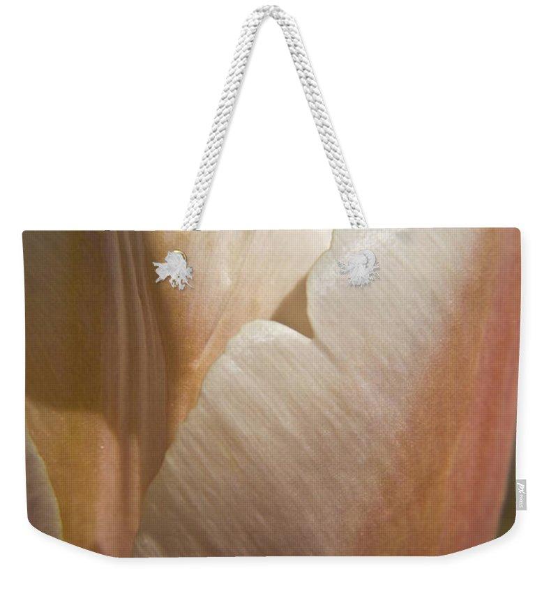 Peach Weekender Tote Bag featuring the photograph Peach Tulip by Teresa Mucha