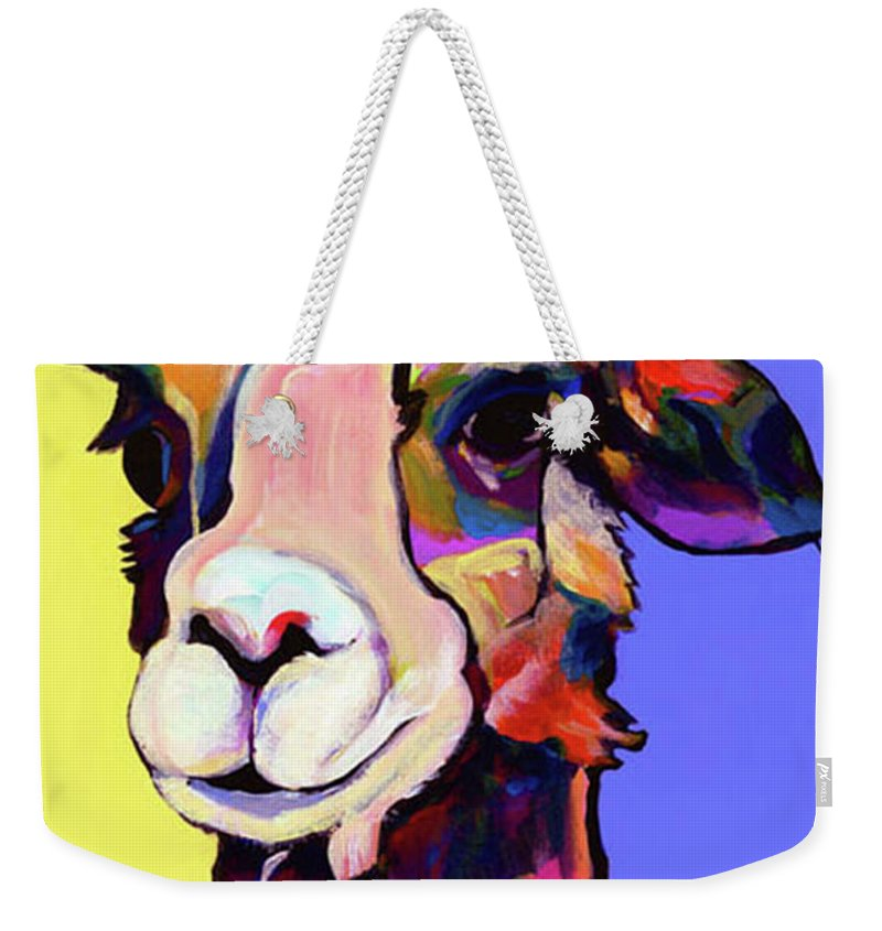Pat Saunters-white Weekender Tote Bag featuring the painting Peaches by Pat Saunders-White