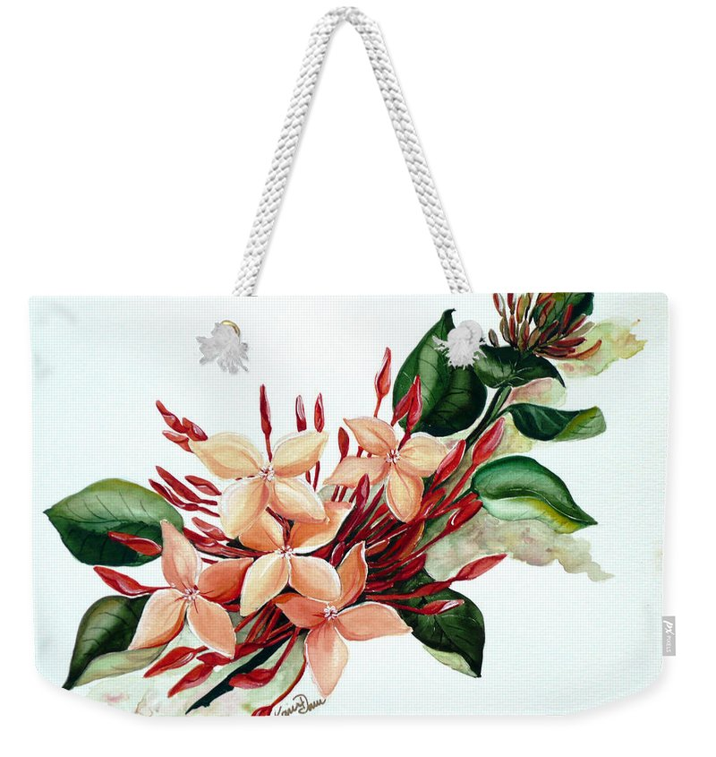 Floral Peach Flower Watercolor Ixora Botanical Bloom Weekender Tote Bag featuring the painting Peachy Ixora by Karin Dawn Kelshall- Best