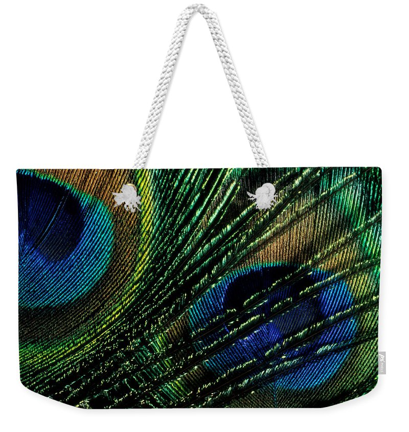 Peacock Weekender Tote Bag featuring the photograph Peacock Eyes by Jerry McElroy
