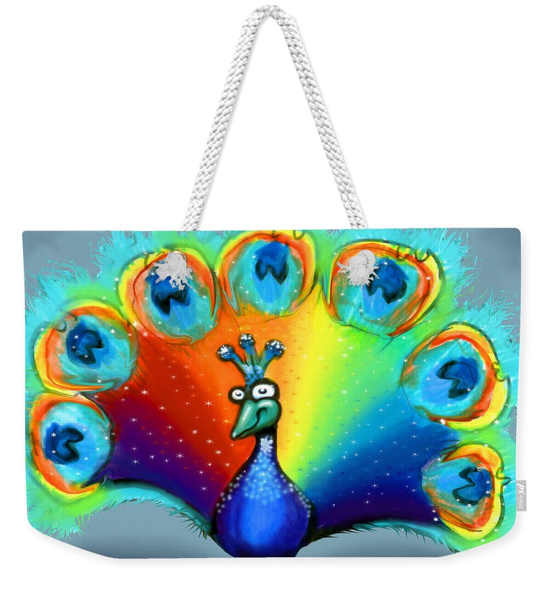 Color Weekender Tote Bag featuring the painting Peacock by Kevin Middleton