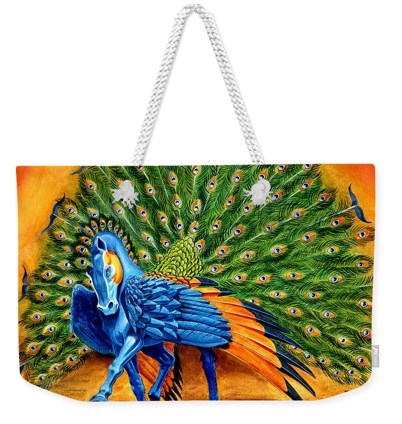 Horse Weekender Tote Bag featuring the painting Peacock Pegasus by Melissa A Benson