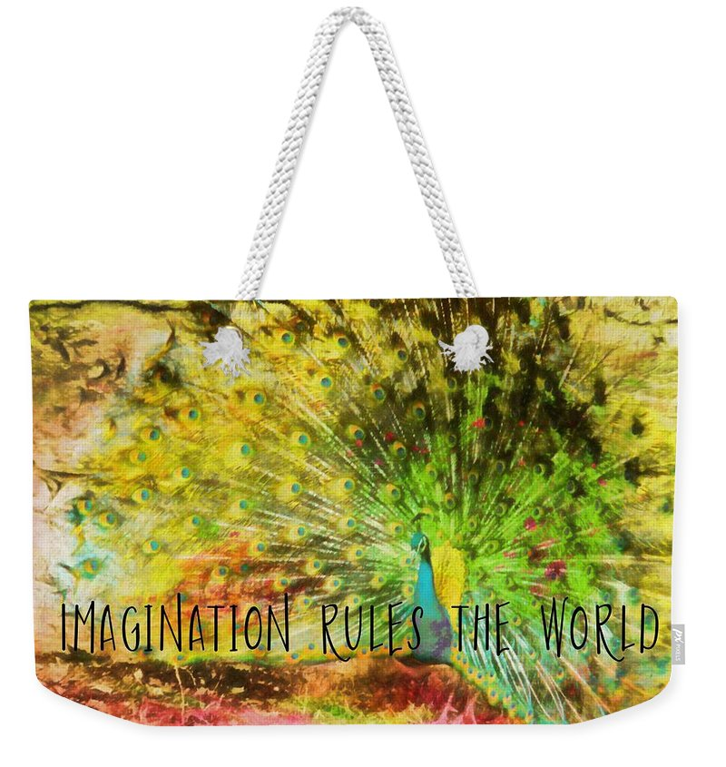 Peacock Weekender Tote Bag featuring the photograph Peacock Strut Quote by JAMART Photography