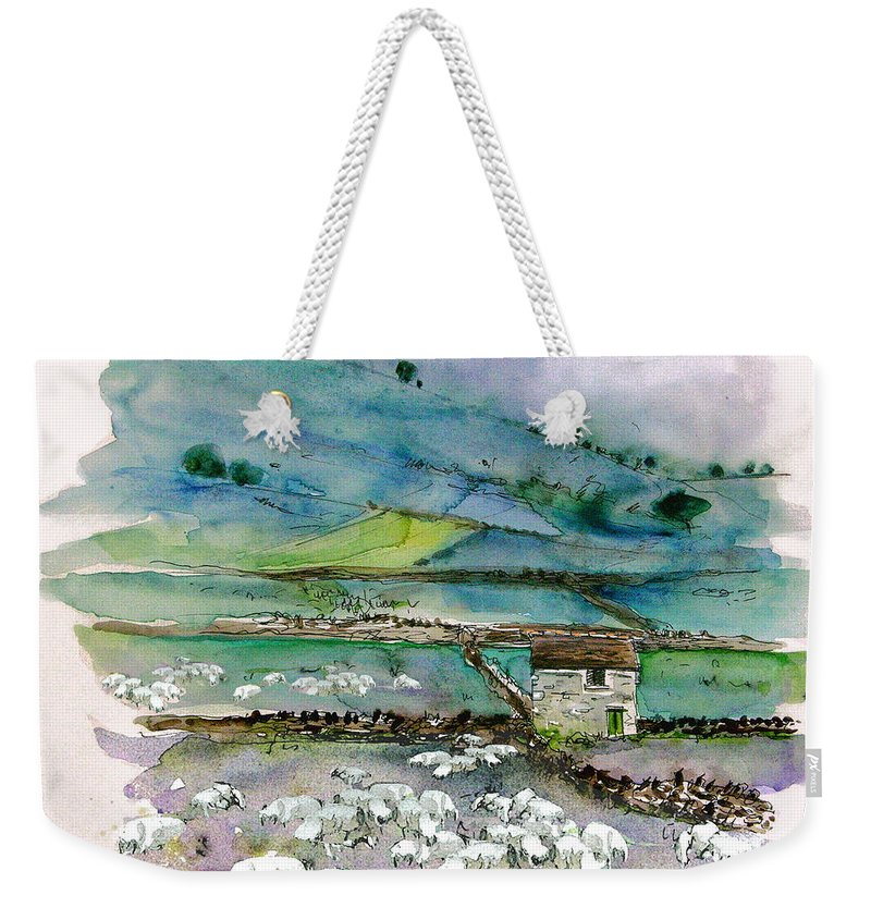 Paintings England Watercolour Travel Sketches Ink Drawings Art Landscape Paintings Town Weekender Tote Bag featuring the painting Peak District Uk Travel Sketch by Miki De Goodaboom