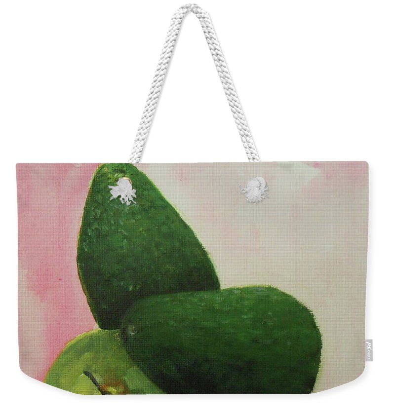 Still Life Weekender Tote Bag featuring the painting Pear And Avocados by Jane See