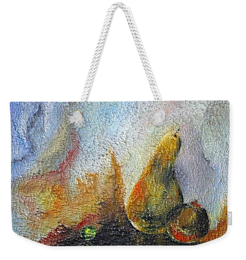 Mixed Media Weekender Tote Bag featuring the mixed media Pear And Pearl by Dragica Micki Fortuna