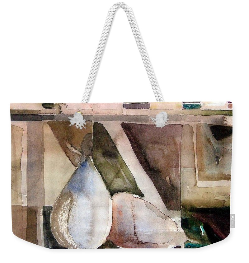 Pear Weekender Tote Bag featuring the painting Pear Study In Watercolor by Mindy Newman